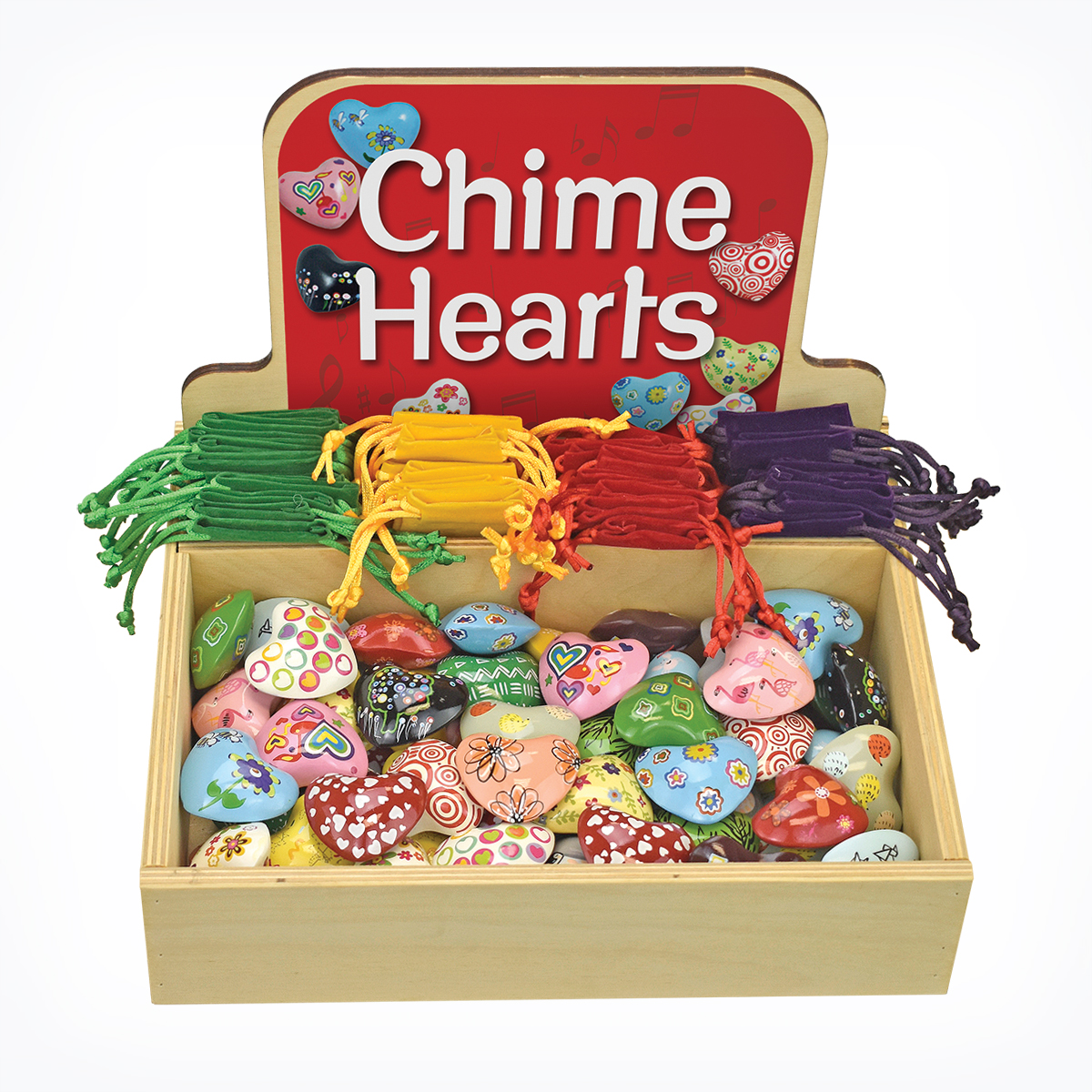Chime Hearts Wood Display Geocentral